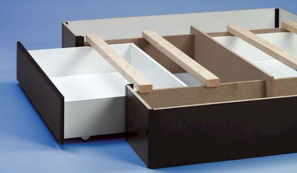 Base con cajones para camas de agua for Base cama individual con cajones